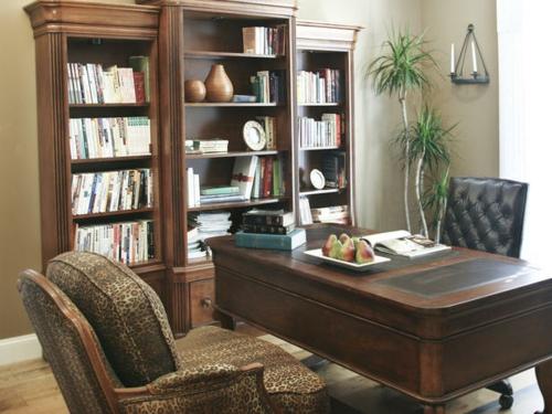 heimbüro extravagant luxus idee modern exotisch pflanzen