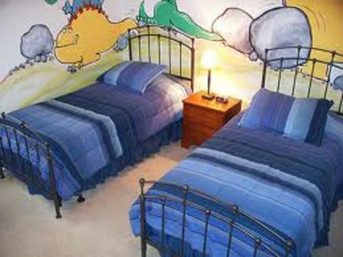 Herrliches Kinderzimmer Design Zwei Kinder Blau Wand Malerei Herrliches  Kinderzimmer Design Für ...