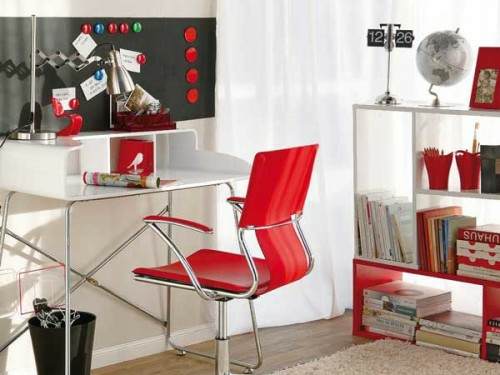 hochmodern glanzvoll möbelstücke rot farben stuhl schreibtisch weiß heimbüro