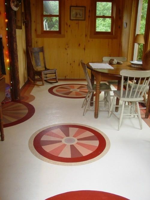 holz wandbelag fußboden runde formen linienbunt idee interessant