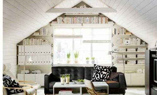 holzpaneel dachzimmer aufbewahrung und organisation im wohnzimmer