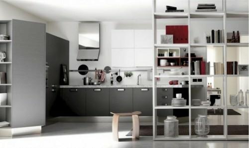 küche design idee spiegel grau farben