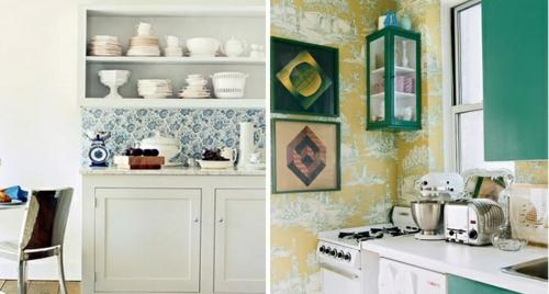 Tapeten im Küchenbereich idee zwei küchenbereiche
