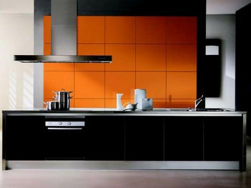 küche schwarz kompakt modern orange quadraten küchenspiegel