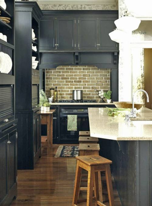 Küchen Grundrisse schwarz möbel ziegelwand küchenrückwand