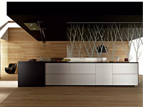 küchen interieurs holz schwarz zimmerdach idee kücheninsel geometrische