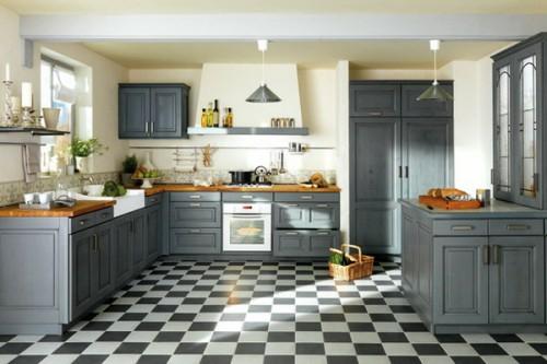 französische dekoration küche idee design grau