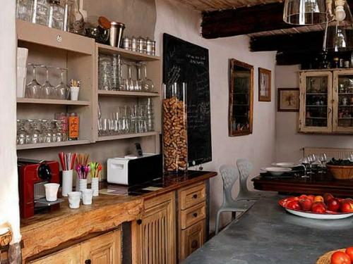 französische dekoration küche idee wandregale