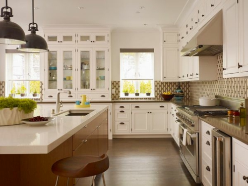 kücheninsel modern glanzvoll braun holz bodenbelag blumentopf