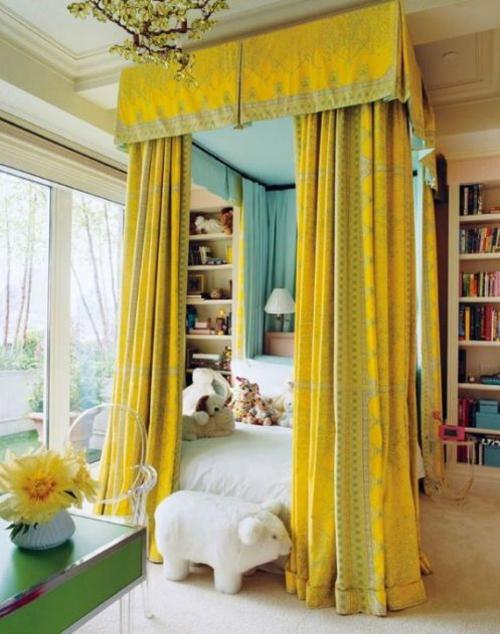 Kinderzimmer Design Idee in Weiß und Gelb - origineller Vorschlag