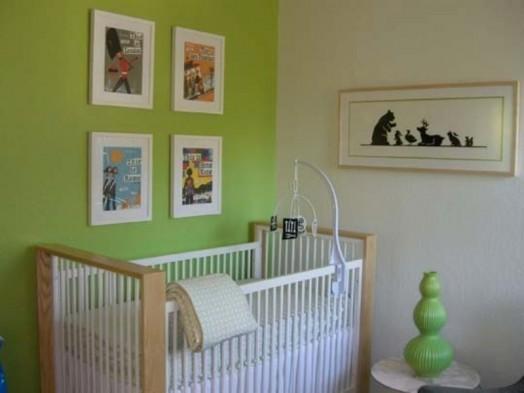 kinderzimmer grün babybett gitter design interieur