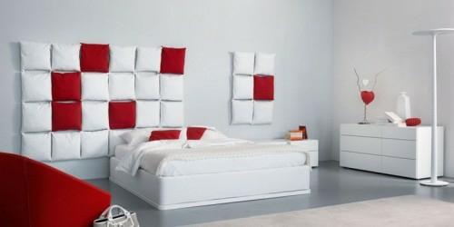 kissen weiß rot wand schlafzimmer interieur kopfteil originell