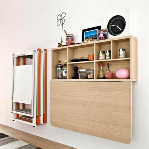 klapptisch im küchenberiech wand weiß orange