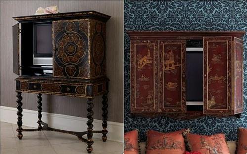 der moderne fernseher an verschiedene interieurs anpassend. Black Bedroom Furniture Sets. Home Design Ideas