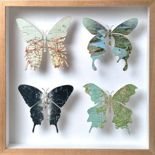 kleine Schmetterlinge Dekor Design Landkarte Idee