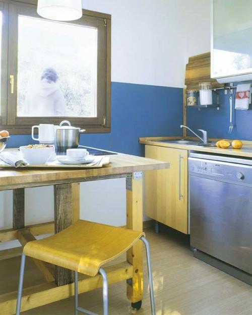 kleine küche bequem funktional holz ausstattung schlicht