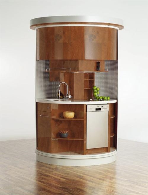 kleine küchen desings kompakt holz dunkel rund idee