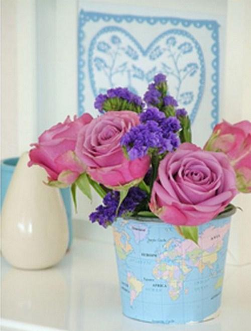 kleinen schönen Blumen Blumentopf Landkarten