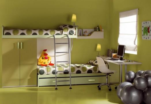 kompakt kinderzimmer grün nuancen design idee
