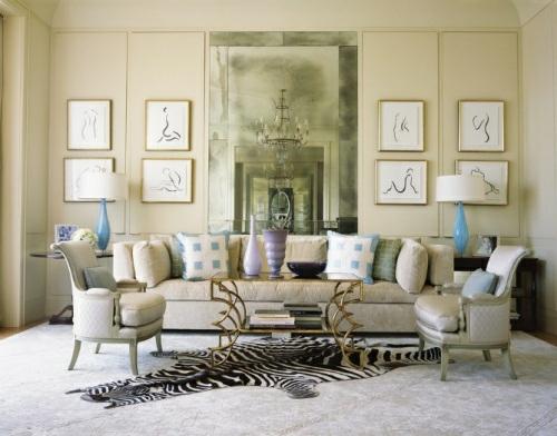 kompakt wohnzimmer idee stilvolles Zebrastreifen-Design teppich