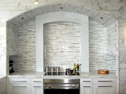 kompakte küche küchenspiegel idee design