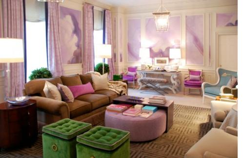 lila grün design idee pastellfarben wohnzimmer