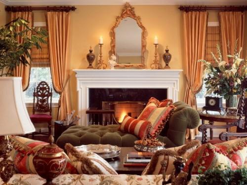 Luxus Wohnzimmer Mischung Farben Texturen Idee Einbaukamin Rustikal Stil