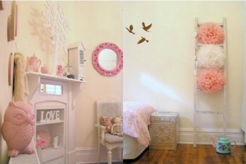 mädchen schlafzimmer im shabby chic stil pastellfarbige deko eule