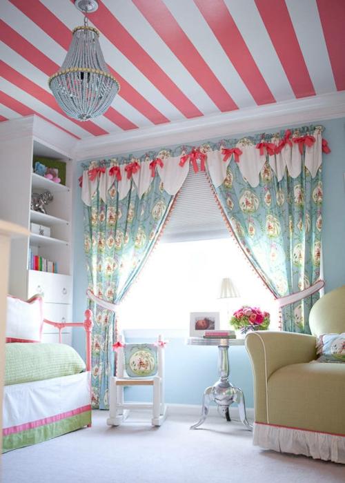 Mädchen Schlafzimmer im Shabby-Chic-Stil rosa akzente streifen decke