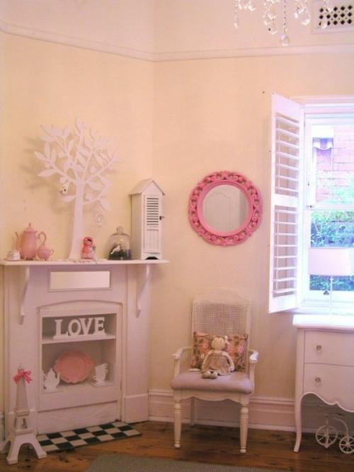 mädchen-schlafzimmer im shabby chic stil rosa rundspiegel