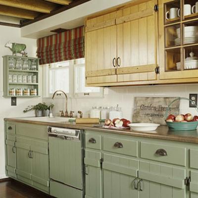 mach selbst renovierung schmale Küchen Interieurs blass grün farben