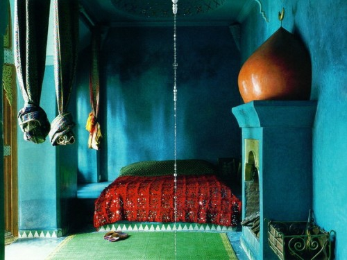 orientalische schlafzimmer designs blau