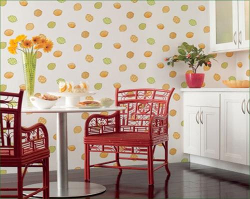 metall stühle rot blumen Tapeten im Küchenbereich zitronen verzierungen idee