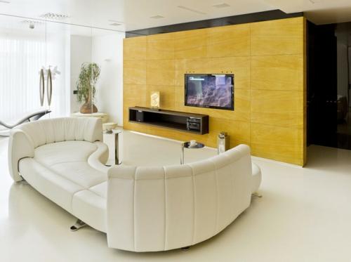 minimalistisch gelb weiß kontrast farben modern interieur