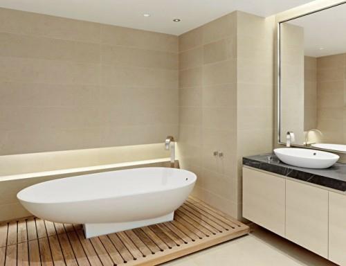 Moderne Badezimmerboden Ideen Badewanne Holz Sockel