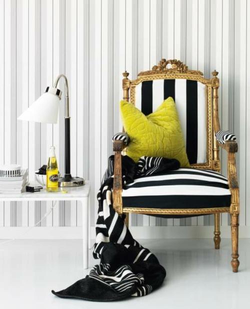 monochrome grelle kombiniert farben attraktive Wanddekoration mit Streifen sessel altmodisch extravagant