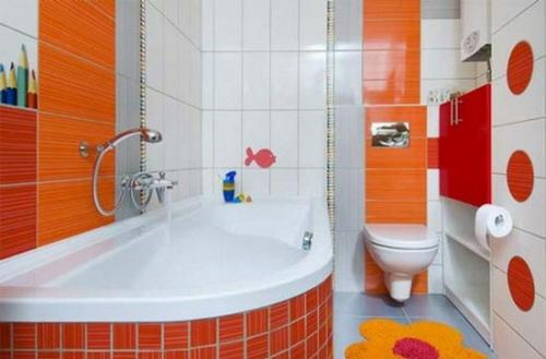 orange badewanne idee badezimmer design