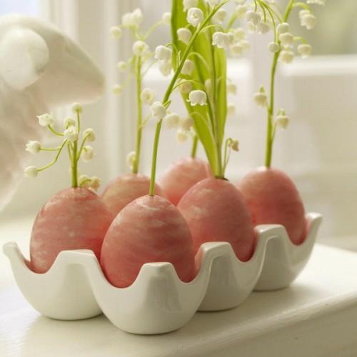 originell deko ideen für ostern rosa ostereier