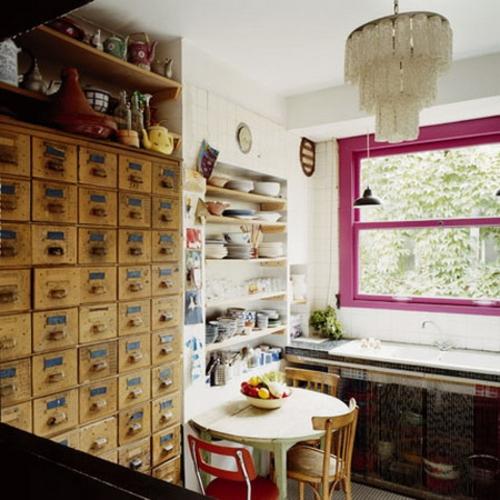 rosa farbige Waschküche Möbel
