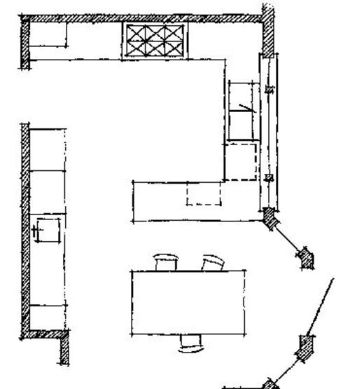 p-förmig küche design entwurf idee fußboden arbeitsplatte Wichtige Küchen Grundrisse