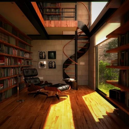 perfekte einrichtung der hausbibliothek grandios treppe lederliegestuhl