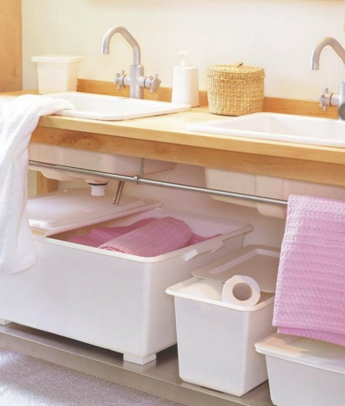 plastik körbe aufbewahrung ordnung badezimmer klein