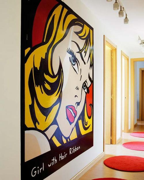 pop-art wanddeko ideen übergroß wohnzimmer schick
