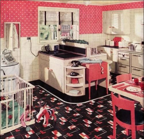 idee küche design einrichten rosa wand muster