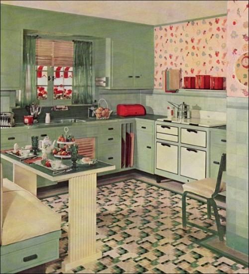 retro küchen designs grüne wand