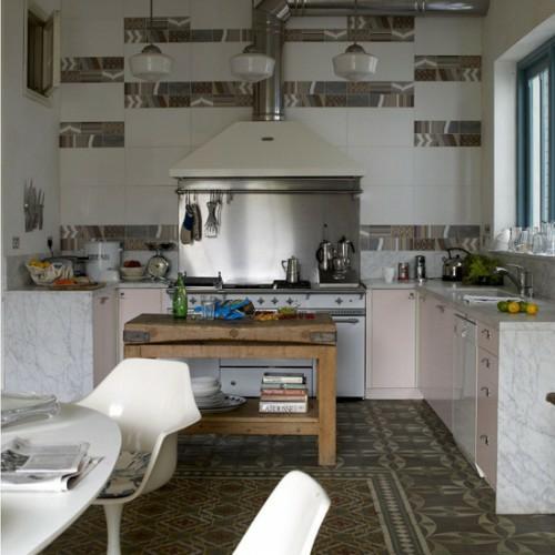 retro küchen designs metallische elemente