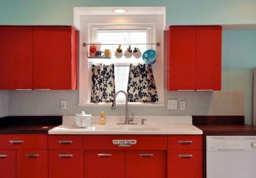 retro küchen designs rot farbe möbel