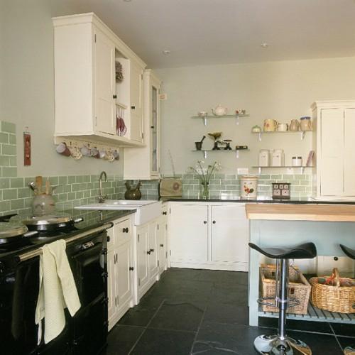 retro küchen designs fliesen wand idee