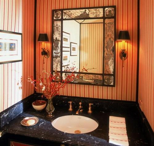 romantisch aussehen leuchten waschbecken tisch blumen