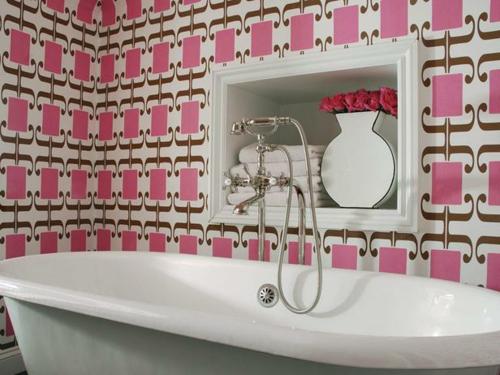 rosa fliesen badewanne idee design